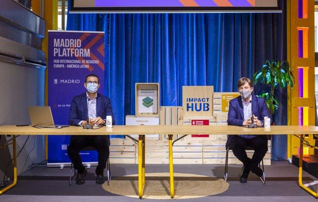 Archivo - Carlos Morales, Director General de Madrid Platform, y José Luis Moreno, Director General de Economía del Ayuntamiento de Madrid