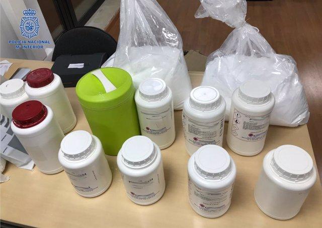 Droga y sustancias de corte intervenidas en la operación 'zero-zero' en Mallorca.