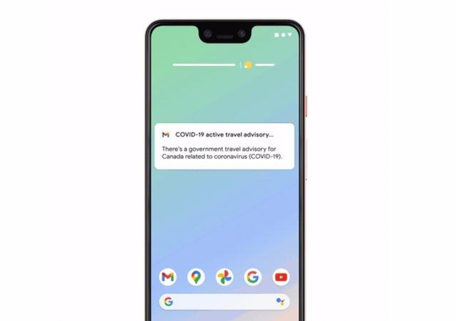 Notificaciones de cambios en las restricciones para viajeros de Google.