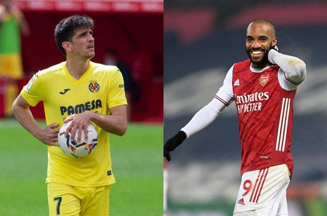 Gerard Moreno y Alexandre Lacazette, jugadores del Villarreal y del Arsenal