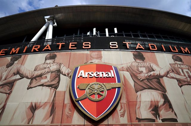20 April 2021, United Kingdom, Manchester: A general view of the main entrance of the Emirates Stadium the home of the English soccer team Arsenal, one of 12 European teams agreed to form a new midweek competition called European Super League. Photo: John