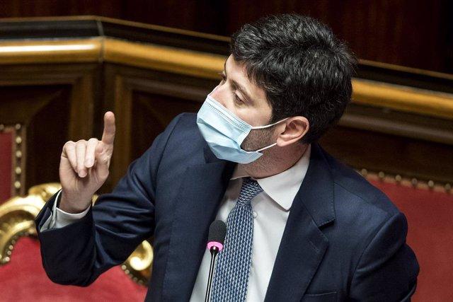 28 April 2021, Italy, Rome: Italian Health Minister Roberto Speranza speaks during a no-confidence session at the Italian Senate. Photo: Roberto Monaldo/LaPresse via ZUMA Press/dpa