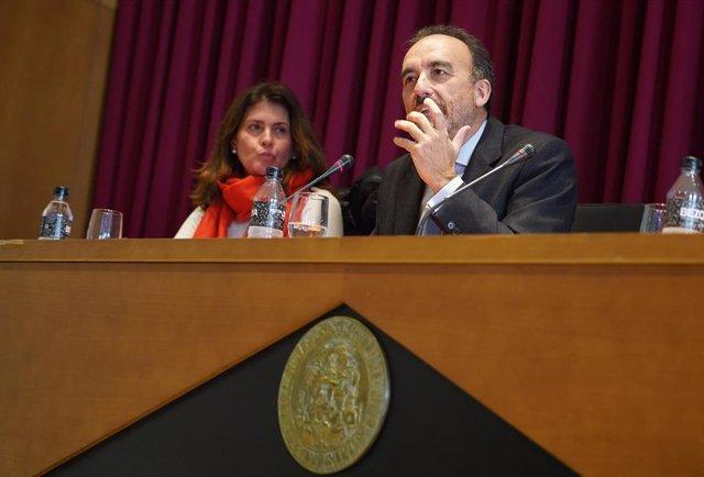 Archivo - El juez Manuel Marchena durante una conferencia en la facultad de Derecho de la Universidad de Sevilla