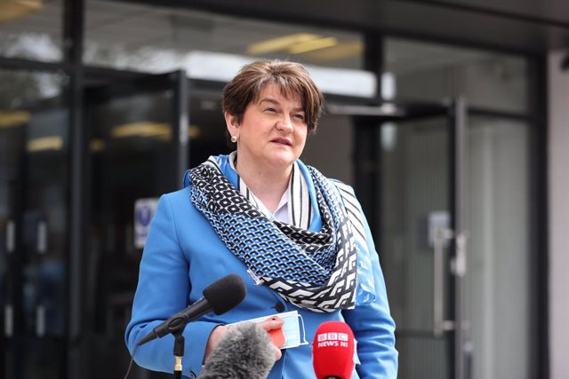 27 April 2021, United Kingdom, Belfast: Northern Ireland's First Minister Arlene Foster answers questions on her leadership during a visit to the Hammer Youth Centre. Photo: Liam Mcburney/PA Wire/dpa