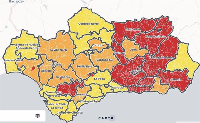 Mapa de Andalucía con niveles de alerta de Covid-19 por municipios vigentes desde el jueves 29 de abril de 2021