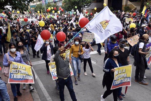 Protestas contra la reforma tributaria en Bogotá