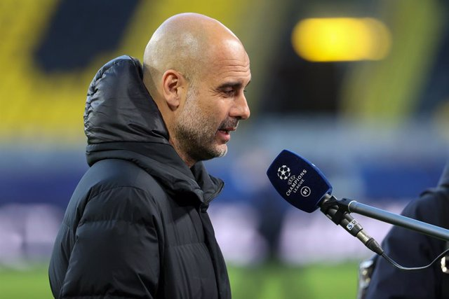 Coach Pep Guardiola of Manchester City during the UEFA Champions League, Quarter-Finals, 2nd leg football match between Borussia Dortmund and Manchester City on April 14, 2021 at Signal Iduna Park in Dortmund, Germany - Photo Joachim Bywaletz / Orange Pic