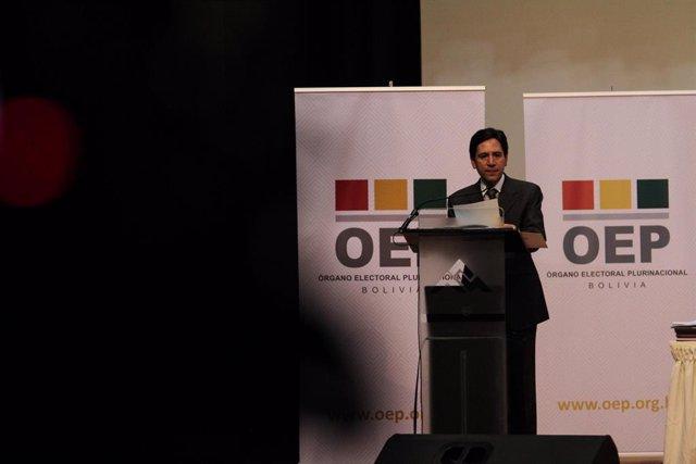 Salvador Romero, presidente del Tribunal Supremo Electoral de Bolivia (TSE).
