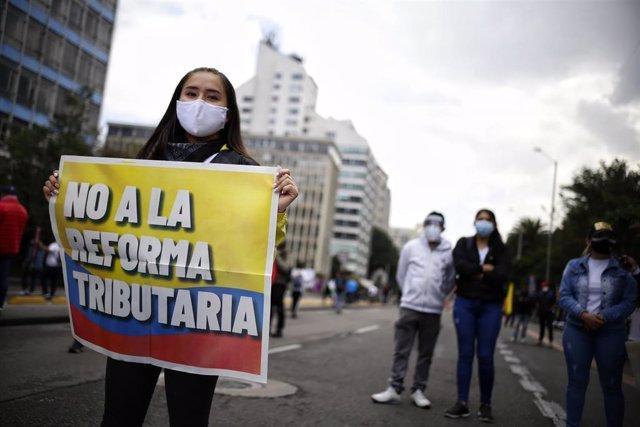 Protestas contra la reforma tirbutaria en Colombia