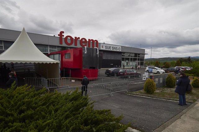 Las instalaciones Forem, donde se realizan pruebas de PCR y se administran vacunas en Navarra.