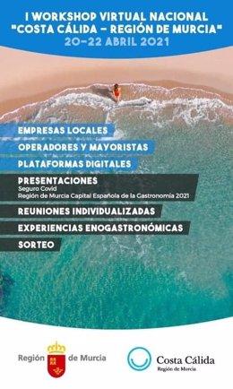 Cartel I Workshop Virtual Costa Cálida - Región de Murcia