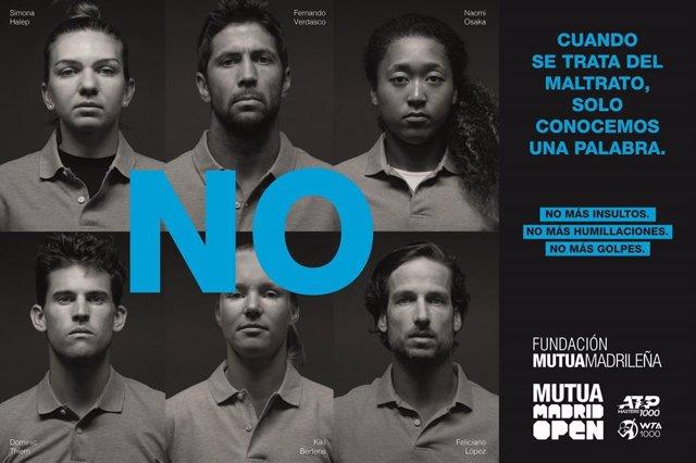 Los tenistas del Mutua Madrid Open dicen NO a la violencia de género.