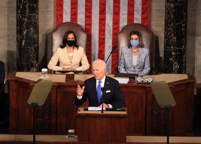 El president dels Estats Units, Joe Biden, en el discurs al Congrés pels primers 100 dies de govern.