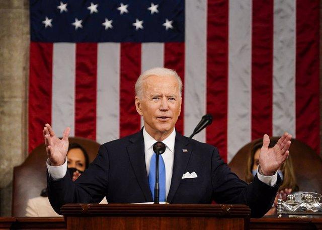 El president dels Estats Units, Joe Biden, durant el seu discurs després de 100 dies de govern.