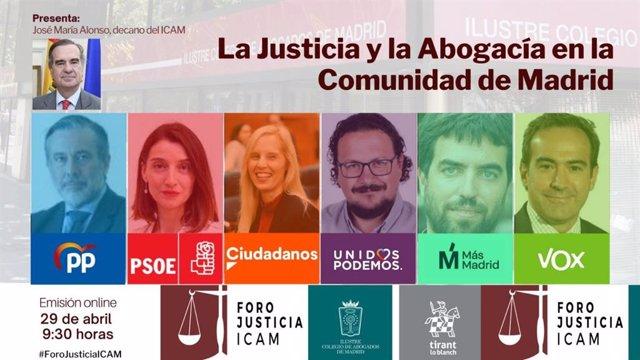 Imagen del cartel del encuentro entre candidatos de las diferentes fuerzas políticas que concurren a las elecciones