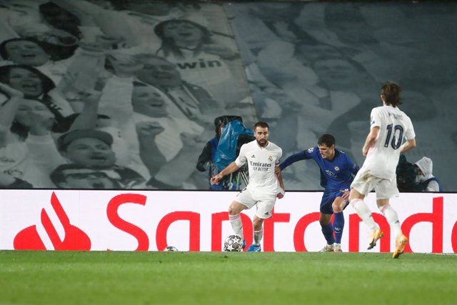 Daniel Carvajal of Real Madrid in action during the UEFA Champions League, Semifinals Leg Two, football match played between Real Madrid and Chelsea FC at Alfredo Di Stefano stadium on April 27, 2021, in Valdebebas, Madrid, Spain.