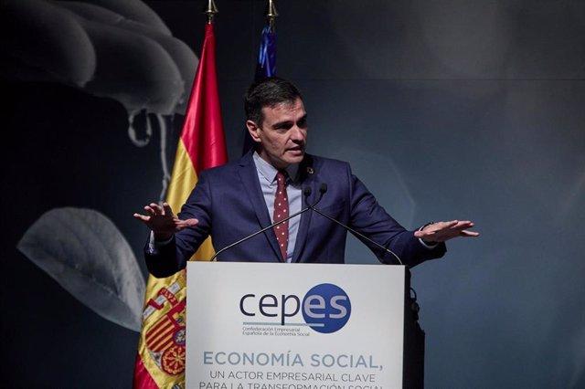 El presidente del Gobierno, Pedro Sánchez, interviene durante el acto de clausura de la XXIX Asamblea General de la Confederación Empresarial Española de la Economía Social (CEPES).