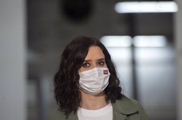 La presidenta de la Comunidad de Madrid y candidata a la reelección, Isabel Díaz Ayuso, en un acto de campaña