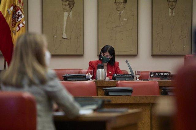 La ministra de Sanidad, Carolina Darias, durante una sesión plenaria en el Congreso de los Diputados, a 29 de abril de 2021, en Madrid (España). La titular de Sanidad comparece este jueves en la Cámara Baja para abordar las medidas adoptadas frente al COV