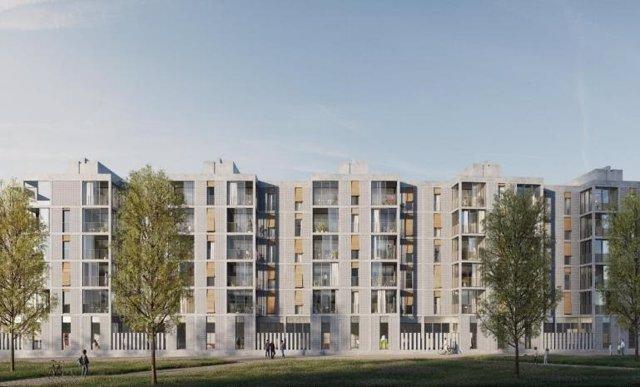 Arxiu - Projecte de l'Institut Municipal de l'Habitatge i Rehabilitació (IMHAB) de Barcelona per construir un edifici de 67 habitatges públics al número 88 del carrer Palamós de Trinitat Nova, al districte de Nou Barris.