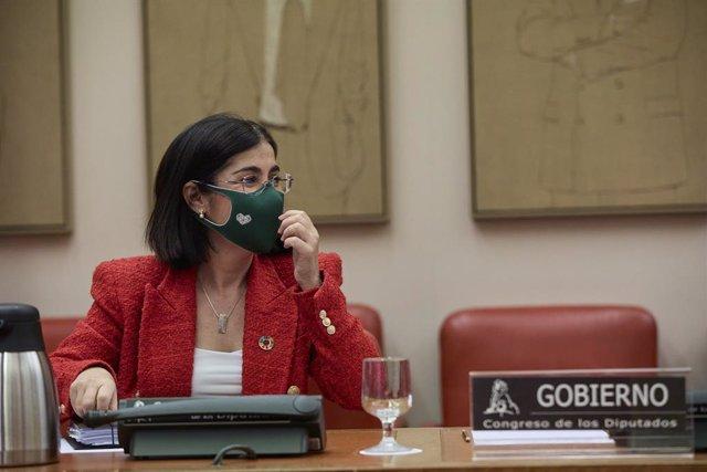 La ministra de Sanitat, Carolina Darias, en la sessió plenària al Congrés dels Diputats.
