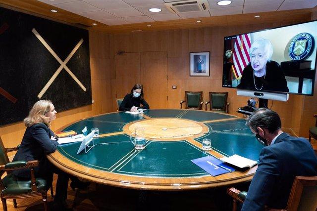 La vicepresidenta segunda y ministra de Asuntos Económicos y Transformación Digital, Nadia Calviño, ha mantenido hoy una reunión con la secretaria del Tesoro estadounidense, Janet Yellen.