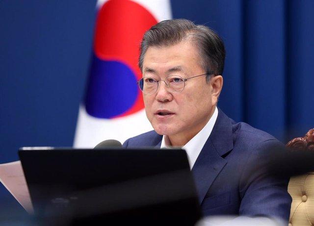 Archivo - El presidente de Corea del Sur, Moon Jae In