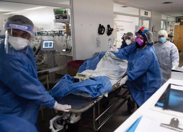 Profesionales sanitarios atienden a un paciente afectado por coronavirus en Buenos Aires.