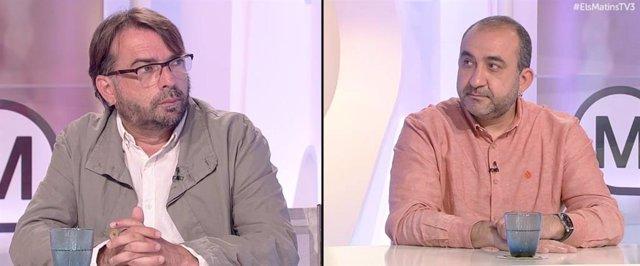 El secretari general de la UGT de Catalunya, Camil Ros, i el secretari general de CCOO de Catalunya, Javier Pacheco, aquest divendres.