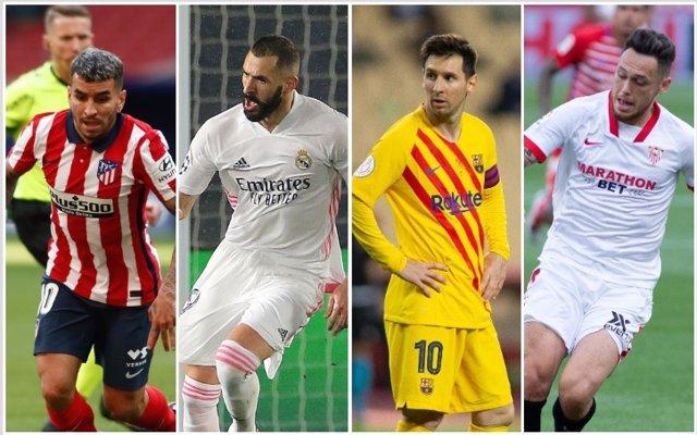 Atlético, Real Madrid, Barcelona y Sevilla pelean por la Liga