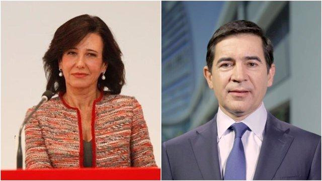 Archivo - La presidenta del Banco Santander, Ana Botín, y el presidente del BBVA, Carlos Torres