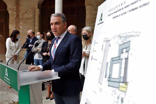 Los consejeros de Presidencia, Administración Pública e Interior, Elías Bendodo, presenta el proyecto de rehabilitación del Convento de la Trinidad a 30 de abril del 2021 en Málaga. Andalucía.