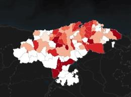 Mapa de los municipios cántabros, por colores según su incidencia por Covid