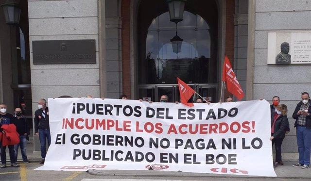 Concentración de los sindicatos de Puertos del Estado