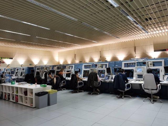 Prueba de carga realizada en el Centro de Control de Enaire en Madrid en marzo 2021.