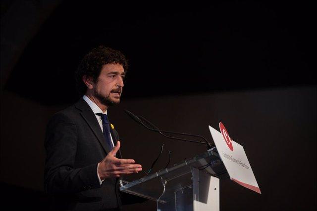 Arxiu - El conseller Damià Calvet intervé en la presentació de l'estudi 'La logística, un motor per a Catalunya', a 8 d'abril del 2021, a Barcelona, Catalunya (Espanya).