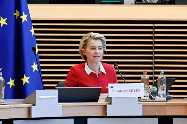 HANDOUT - 27 April 2021, Belgium, Brussels: European Commission President Ursula von der Leyen chairs the weekly commissioners meeting. The European Commission presented a new strategy on Tuesday to increase the numbers of rejected asylum seekers voluntar