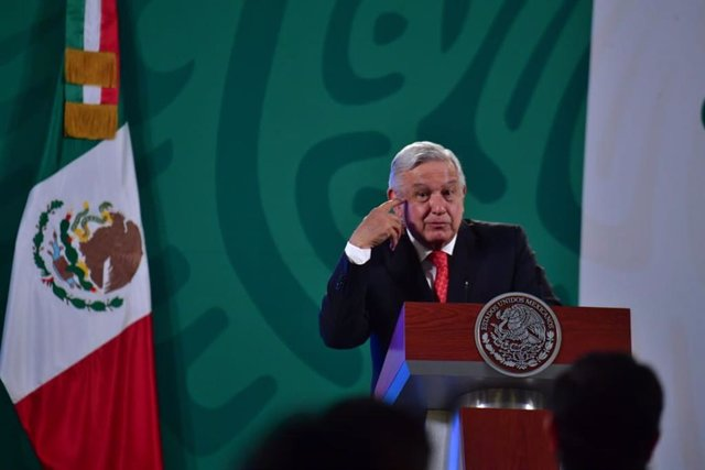 27 April 2021, Mexico, Mexico City: Mexican President Andres Manuel Lopez Obrador speks during his daily press conference at the National Palace. Photo: -/El Universal via ZUMA Wire/dpa