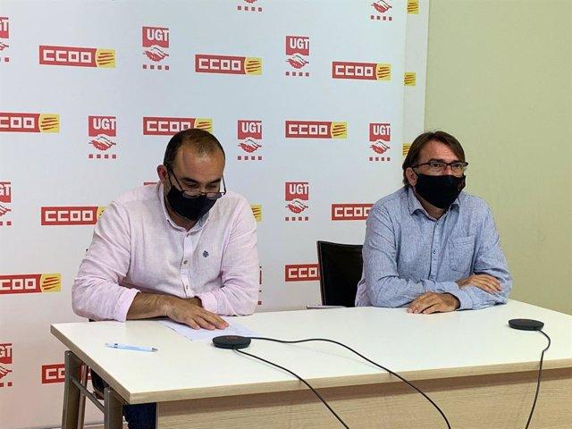 El secretari general de CCOO Javier Pacheco, i el d'UGT, Camil Ros, durant la roda de premsa per l'1 de maig.