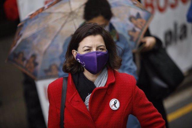 La viceprimera secretaria del PSC, Eva Granados, en la concentración de Barcelona por el 1 de Mayo, Día del Trabajador