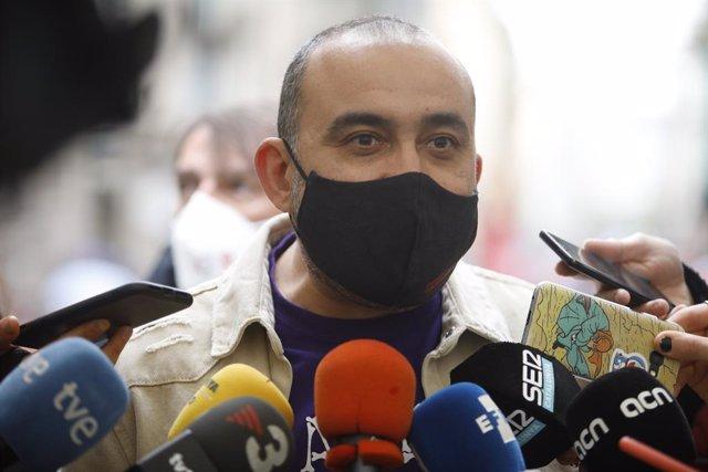 El secretari general de CCOO de Catalunya, Javier Pacheco, en la concentració de Barcelona per l'1 de maig, Dia del Treballador.