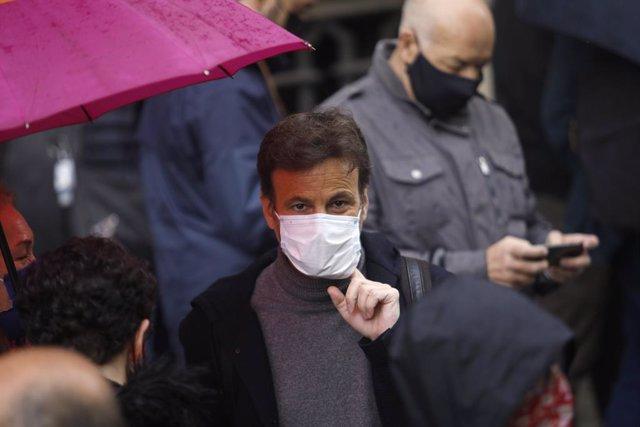 El president d'Unides Podem i comuns al Congrés, Jaume Asens, en la concentració de Barcelona per el 1 de Maig, Dia del Treballador