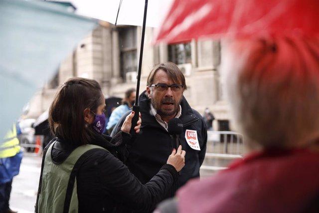 El secretari general d'UGT de Catalunya, Camil Ros, en la concentració de Barcelona per el 1 de Maig, Dia del Treballador