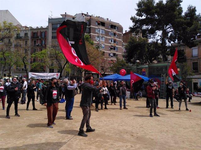 """Concentració de CGT a Barcelona per condemnar """"la precarietat laboral"""" amb motiu del Dia del Treballador"""