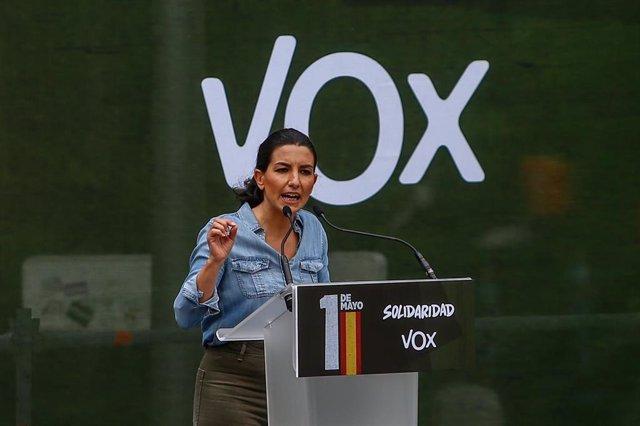 La candidata de Vox a la Presidencia de la Comunidad de Madrid, Rocío Monasterio, interviene durante un acto del sindicato Solidaridad en Conde de Casal.
