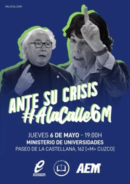 Archivo - Cartel de la convocatoria de Estudiantes en Movimiento, Acción Estudiantil Madrid y Frente de Estudiantes para la movilización del 6 de mayo de 2021 en Madrid