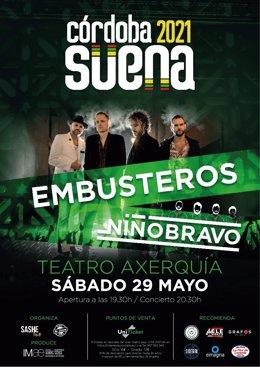Cartel del Festival Córdoba Suena del 29 de mayo en el Teatro de la Axerquía con Embusteros y Niño Bravo.