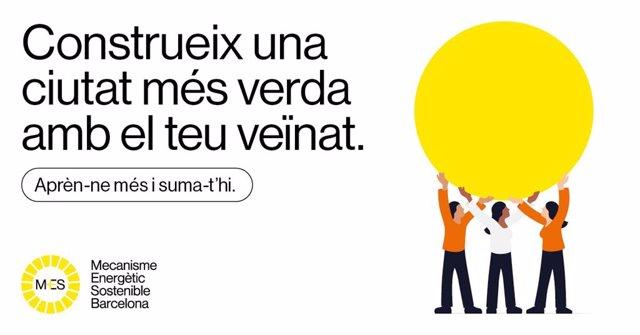 Imatge de la campanya de comunicació impulsada per l'Ajuntament de Barcelona per impulsar la instal·lació de plaques fotovoltaiques en edificis d'alt consum energètic de la ciutat i fomentar l'autoconsumo d'energia
