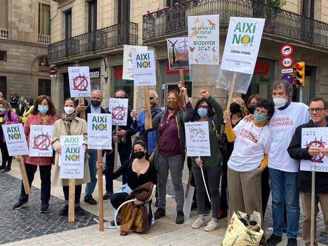 Integrants de la plataforma 'MicroPobles' es concentren a la plaça Sant Jaume de Barcelona contra l'actual model de transició energètica