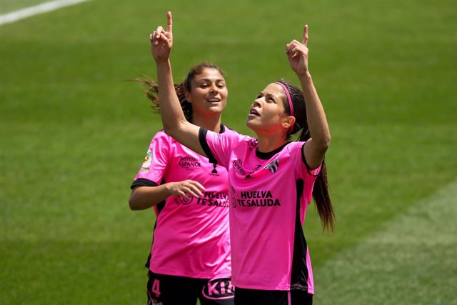 Dany Helena of Sporting de Huelva celebrates a goal during the spanish women league, Primera Iberdrola, football match played between Real Madrid and Sporting de Huelva at Ciudad Deportiva Real Madrid on May 02, 2021 in Madrid, Spain.